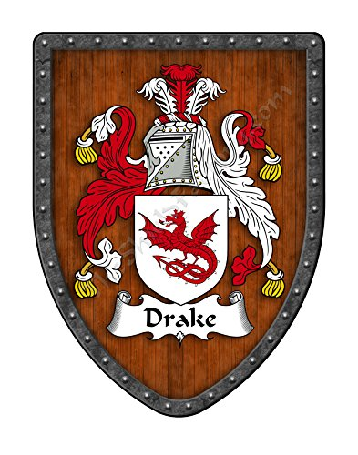 Drake Family Crest Custom Coat of Arms, Family Ancestry and Heritage Hanging Metal Wall Plaque Shield - Hand Made in the USA