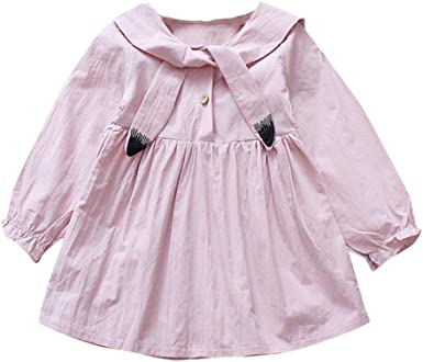 Lisin Baby Kids Girls Dresse Toddler Ruched Cartoon Patchwork Party Princess Short Sleeve Dresses
