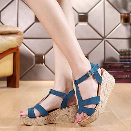 Anguang Vintage Sandales pour Femmes Sandales Compensées Bride Cheville Plateforme d' Été Bleu ckPMxjrdOP