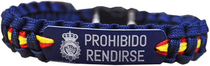 PCM Pulsera Paracord Policía - CNP - con la Bandera de España y la Leyenda en Chapa grabada a láser de Prohibido Rendirse. 21,5 cm. Ancho: 1.5cm Aproximadamente.: Amazon.es: Deportes y aire libre