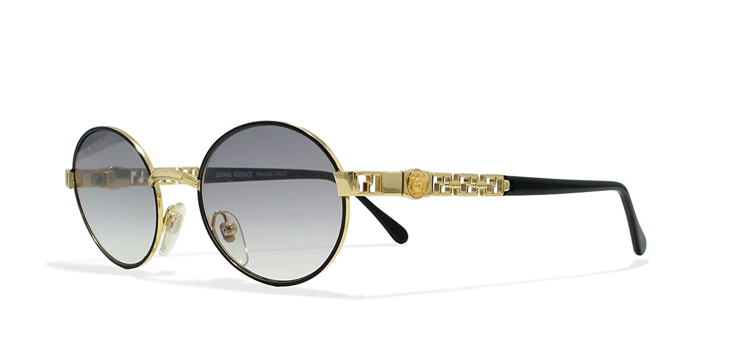 f961bfcb972 Gianni Versace G43 09M Black Gold Vintage Sunglasses Round For Men and  Women  Amazon.co.uk  Clothing