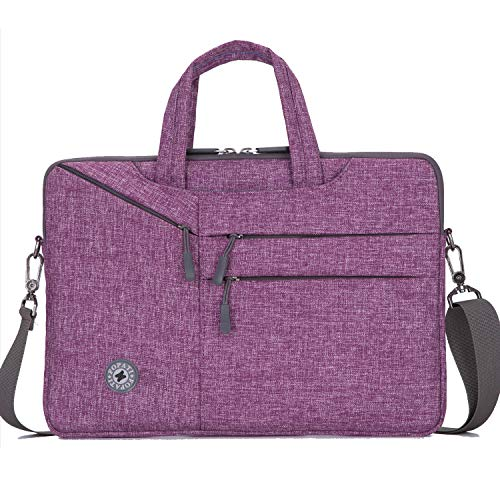 YOUPECK 14 Inch Laptop Sleeve Case Messenger Shoulder Bag Padded Nylon Shockproof Waterproof Briefcase for 14-15.4 Inch Notebook, MacBook Air 15/ Mac Pro 15 Retina/HP ASUS Dell Chromebok 14, Purple