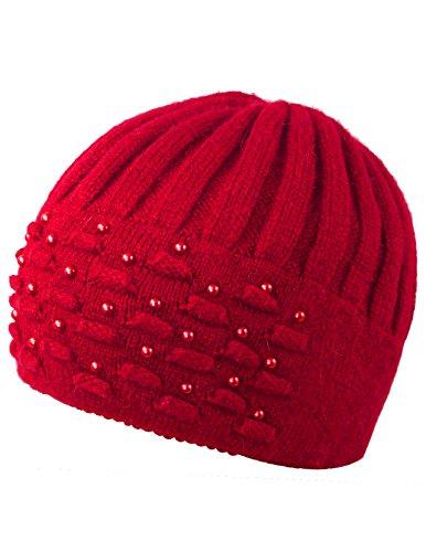 Dahlia Women's Angora Blend Beanie Hat - Dual Layer Pearl Accent Edge - ()
