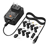 Powseed 24W Universal AC Power Adapter for Small Electronics Routers Speakers CCTV IP Cameras LED Strips SmartPhones Tablet, DC 3V 4.5V 6V 7.5V 9V 12V Multi Voltage Charger Supply Cord, Compatible 12W