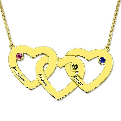 Grancey Collar Personalizado De Tres Corazones Entrelazados Con 3 Piedras Natales Y Nombres Para La Madre Abuela Esposa Día De La Madre Ideal Para La