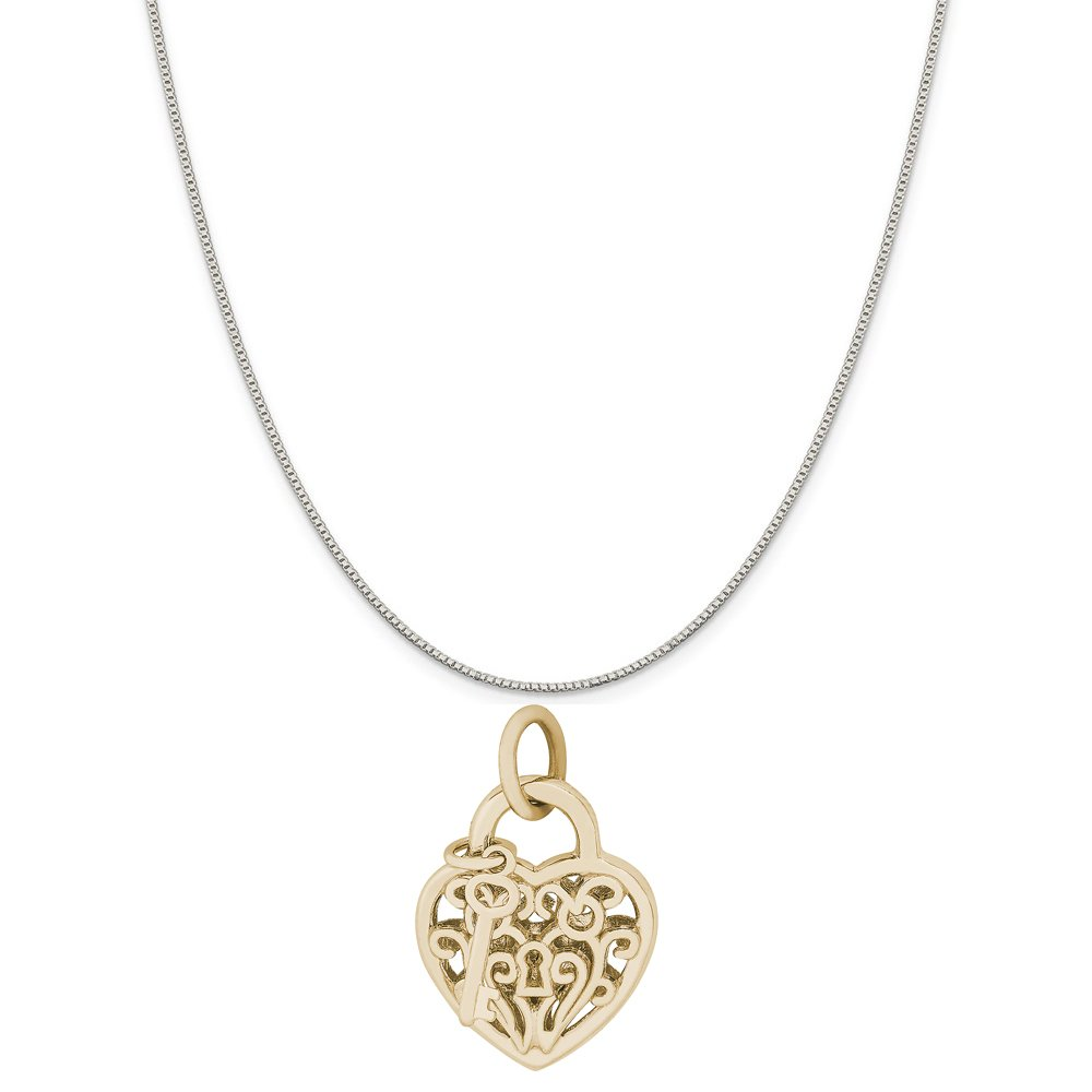 18 or 20 inch Rope Rembrandt Charms Two-Tone Sterling Silver Heart with Key Charm on a Sterling Silver 16 Box or Curb Chain Necklace
