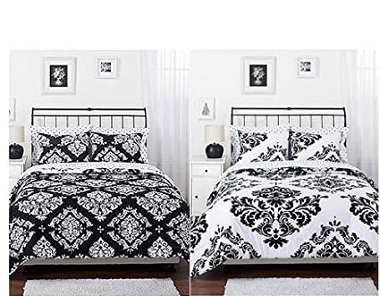 Black White Damask Reversible Twin Size Comforter Sham Set