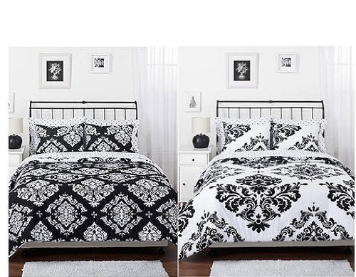 Morgan Teen Black & White Damask Reversible Twin Size Comforter & Sham Set