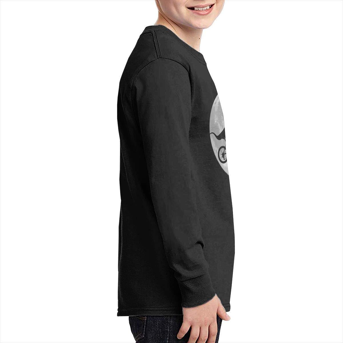 Qiop Nee Dinosaur Moon Bike Long Sleeve T-Shirt for Girls