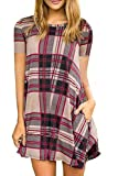Sunfury Womens Tunic Dress With Pockets Juniors Lattice Short Sleeve A-Line Tunic Tops Beige M