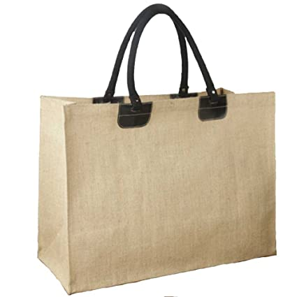 ec687e54718f Image Unavailable. Image not available for. Color  Large Laminated Jute Bag  with Leather ...