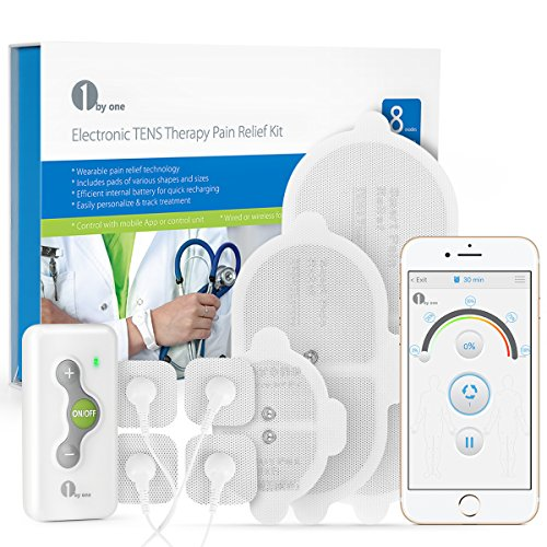 1byone Bluetooth TENS Therapy Muscle Stimulator for Pain Relief Electronic Pulse Massager with Wireless Control App, Variable Size Electrodes Pads
