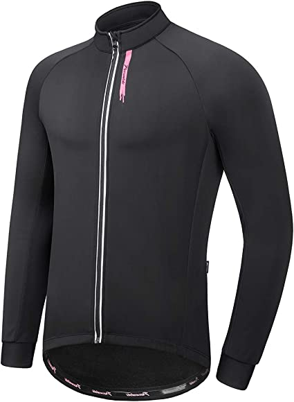 Thermal Fleece Cycling Jacket Jersey Long Sleeve Warmer Fleece Lining