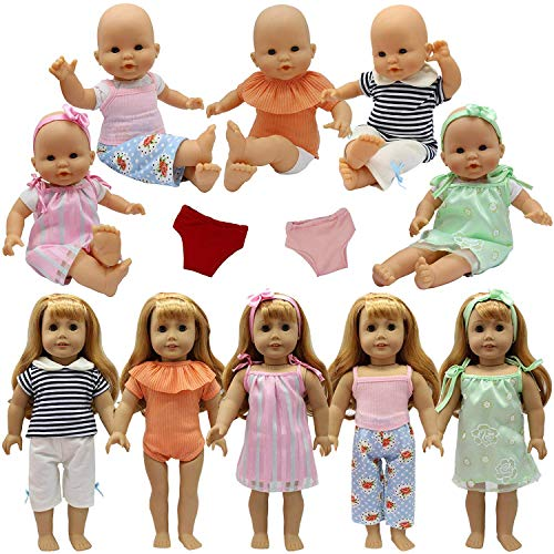 ZITA ELEMENT 5 Sets Baby Alive Doll Clothes with 2 Underpants & 2 Headbands for 14-16 Inch Dolls & American 18