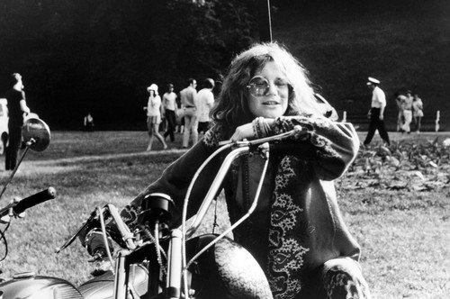 Janis Joplin Classic Image On Motorbike Hippy Clothes Sunglasses 24x36 -