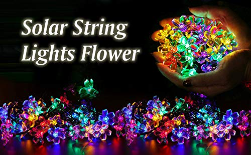 BOLWEO Solar String Lights Flower, 50LED 23Ft Waterproof Solar Powered Fairy Lights Cherry Peach Blossoms with 8 Modes for Outdoor, Garden, Patio, Yard, Gazebo, Christmas Tree, Party (Multi-Color)