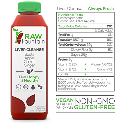 RAW Fountain 3 Day Juice Cleanse, 100% Natural Raw, Cold Pressed Fruit & Vegetable Juices, Detox Cleanse Weight Loss, 18 Bottles, 16oz +3 Ginger Shots 6