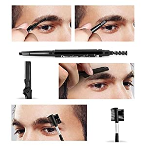 KOBWA 12Pcs Eyebrow Trimming Grooming Kit with Case Mirror - 2Pcs Stainless Steel Tweezers with Slant & Flat Tip Eyebrow Razor Comb Brush Scissor Pencil & 5 Style Eyebrow Shaping Stencil for Women Men