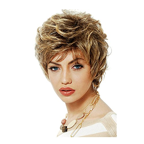 Blanche Golden Girls Costume (20cm Girls Fashion Short Loose Big Curly Hair Women Cosplay Wig Golden)