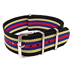 Wrist & Style NylonNATO Watch Strap - Black/Yellow/Blue/Red | 22mm