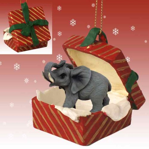 Conversation Concepts Elephant Gift Box Red Ornament