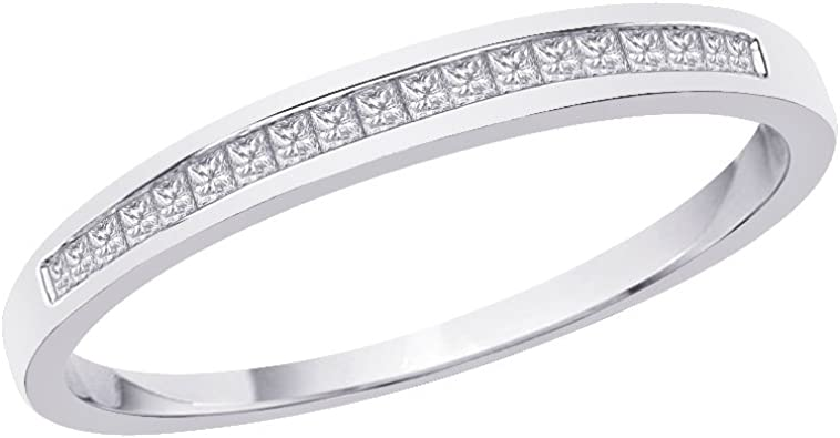 1//10 cttw, G-H,I2-I3 Size-6 Diamond Wedding Band in Sterling Silver