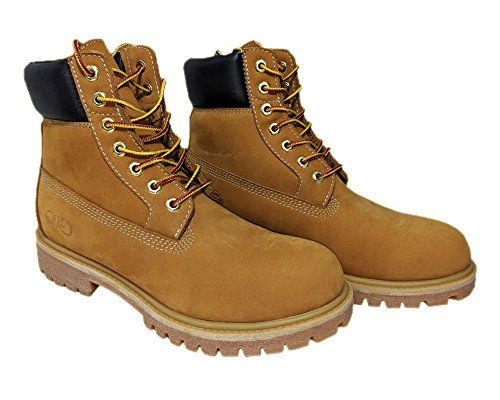 Us Rubber Company (NYC Tough Boot Company Premium Water Resistant Men's Leather Work Boots With Natural Blend Rubber Outsole (12, Wheat))