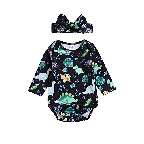 Dream mimi Fashion 2PCS Toddler Baby Dinosaur Print Romper Jumpsuit+Headbands Set Outfit Clothes - Romper Raspberry Infant Dresses