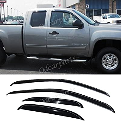 VioGi Fit 07-13 Chevy Silverado/GMC Sierra New Body Extended Cab 4pcs Front + Rear Smoke Sun/Rain Guard Vent Shade Window Visors: Automotive