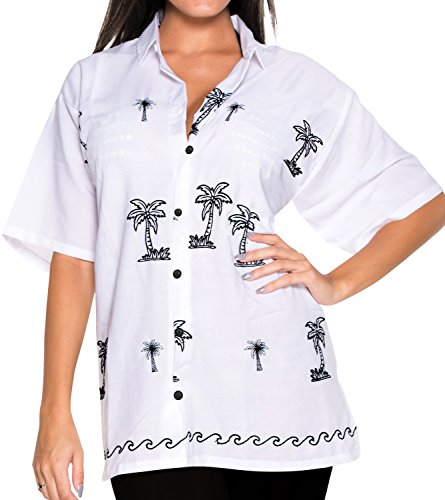 La Leela LA LEELA Rayon Embroidery Collar Blouse Shirt White|L  - US  40  - 42C price tips cheap