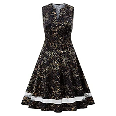 Women's 1920s Gold Vintage Dress Sequin Sleeveless V-Neck Party Cocktail Evening Prom 50s Dress for Women