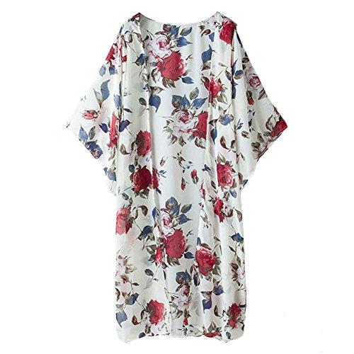 iBaste Playa Blusa, Flor Impreso Traje de Baño Cover Up Beachwear Para Bañador (Blanco) Blanco