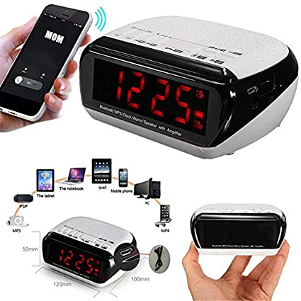 Amazon.com: Bluetooth LED Wireless Speaker Mic LCD Alarm ...