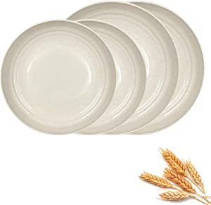 4 Pack 2Szie Wheat Straw Plates, Unbreakable Lightweight Dinner Dishes, Microwave Safe Dinner Plate, Perfect for Salad, Pasta, Steak,Fruit(Beige)