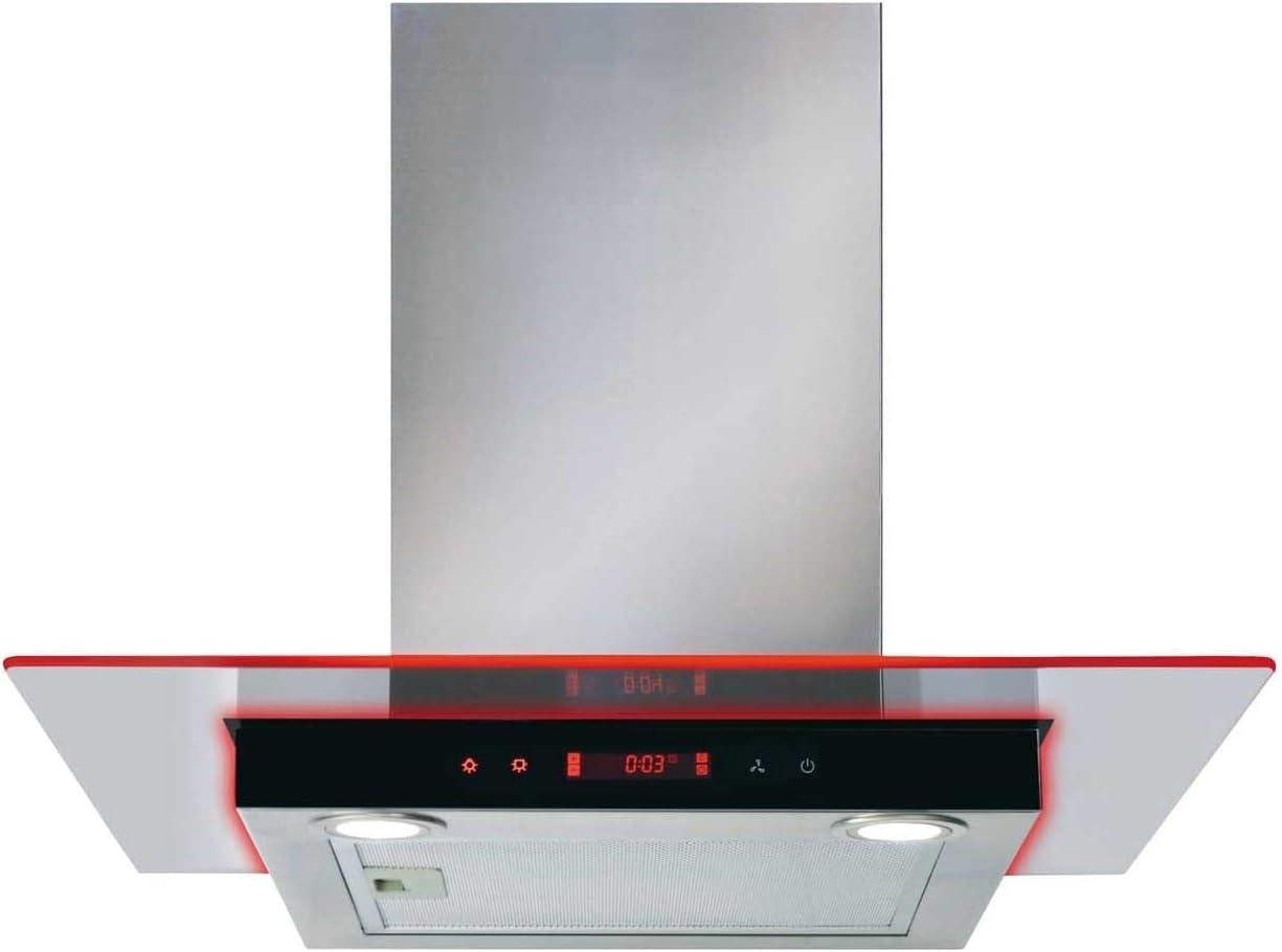CDA EKN60SS - Extractor de campana de cocina (acero inoxidable, cristal plano, iluminación de bordes): Amazon.es: Grandes electrodomésticos