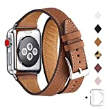 Bestig Band Compatible for Apple Watch 38mm 40mm 42mm 44mm, Genuine Leather Double Tour Designed Slim Replacement iwatch Strap for iWatch Series 5/4/3/2/1 (Brown Band+Silver Adapter, 38mm 40mm)