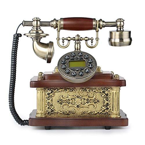 LNC Retro Vintage Antique Style Push Button Dial Desk Telephone Phone Home Living Room Decor Button Desk Phone