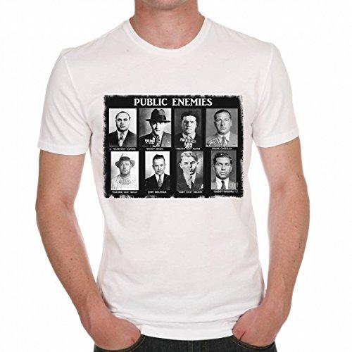 Public Enemies Al Capone Scarface Men's T-shirt Celebrity Star ONE IN THE CITY - White, XXL