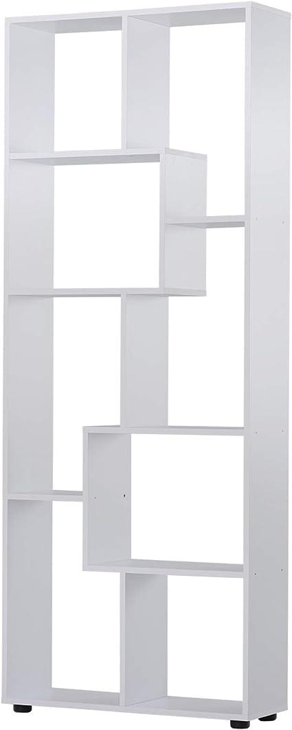 HOMCOM Estantería Moderna Vertical Diseño de Librería con 8 Estantes E1 Tablero de Partículas 70x24x178cm Blanco