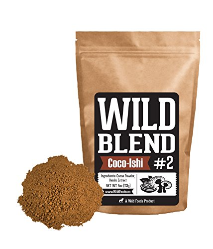 Wild Blend #2, Cocoa Powder and Reishi Mushroom Powder 4:1 Extract Blend for Smoothies, Shakes, Coffee, Baking - Health, Performance, Nootropic (#2 Coco-Ishi - 4 oz)