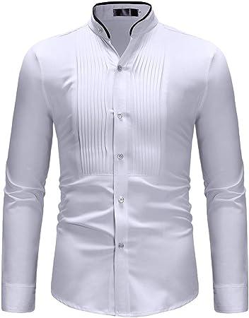 Camisa de Vestir Slim fit para Hombre Camisa de Manga Corta con Cuello en Contraste de Color conciso para Hombre Camisa de Manga Larga Casual Moda (tamaño : XL): Amazon.es: Hogar