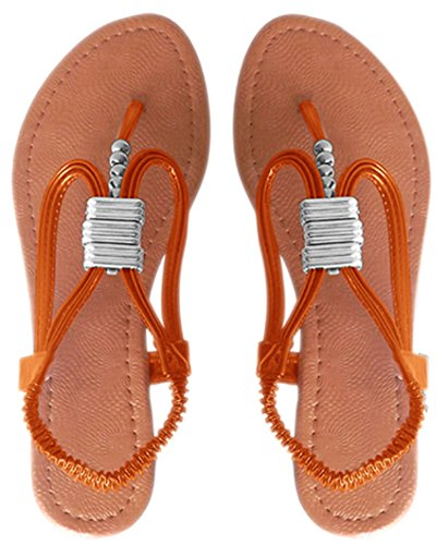 Peach Couture Womens Roman Slingback T-Strap Beaded Strappy Sandal 1 Inch Wedge Orange, ()