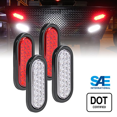 val (24) LED Trailer Tail Light Kit - DOT Certified Stop Turn Brake Reverse Back UP Tail Light ()