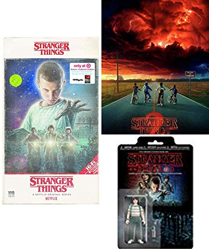 Creature from Hawkins Season 1 Stranger Things in 4K Blu Ray Exclusive VHS Retro Package with Poster + Mystery Action Figure 2 items Set