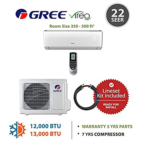 Gree VIR12230-141215 - 12,000 BTU 22 SEER Wall Mounted Mini Split Air Conditioner with Heat Pump 220V & 15' Line Set