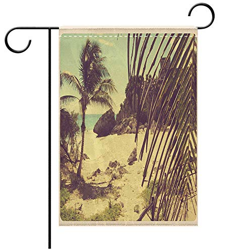BEICICI Garden Flag Double Sided Decorative Flags Tulum Mexico Beach Vintage Postcard Best for Party Yard and Home Outdoor Decor