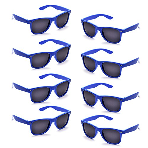 Neon Colors Party Favor Supplies Unisex Sunglasses Pack of 8 (Royal Blue) ()