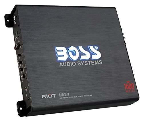 BOSS Audio R1600M - Riot 1600 Watt, 2/4 Ohm Stable Class A/B, Monoblock, Mosfet Car Amplifier with Remote Subwoofer Control (Mono 1600 Amplifier Watt)