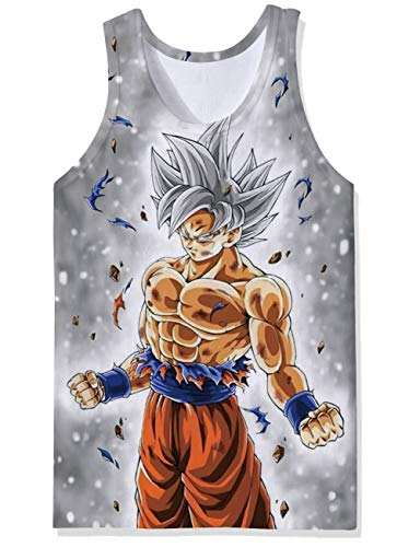 52af1dff1 Cool Graphic Designs Workout Tanks Top Light Colored Grey Purple Red  Dragonball Super Saiyan Muscle Man Nice Fitted Muscle Tee Shirt 70S  Athletic Mesh Vest ...