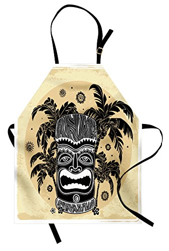 Ambesonne Tiki Bar Apron, Hawaii Tiki Palm Trees Ornate Flowers Sunny Summer Party Print, Unisex Kitchen Bib with…